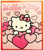 "Hello Kitty Decke Vliesdecke ""Pink Hearts"" auf rosa Vlies ca. 120 x 140 cm - Hello Kitty"